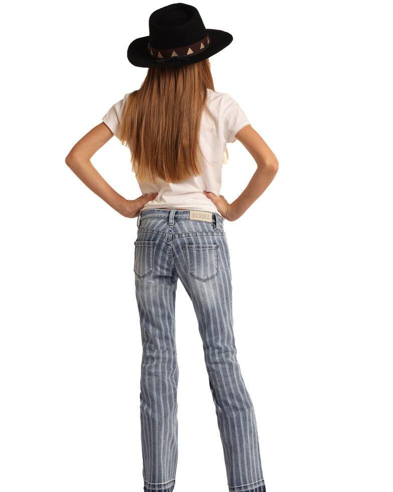 Rock & Roll Denim Girls' Striped Trouser Jeans  , Blue, hi-res