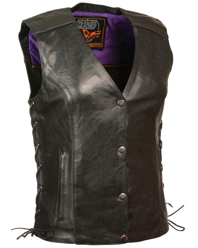 Milwaukee Leather Women's Stud & Wings Leather Vest - 3X, Black/purple, hi-res