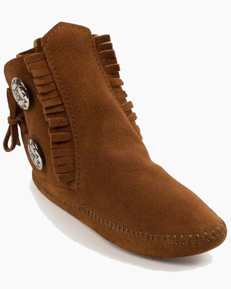 Minnetonka Men's Two-Button Softsole Moccasin Boots - Round Toe, Brown, hi-res