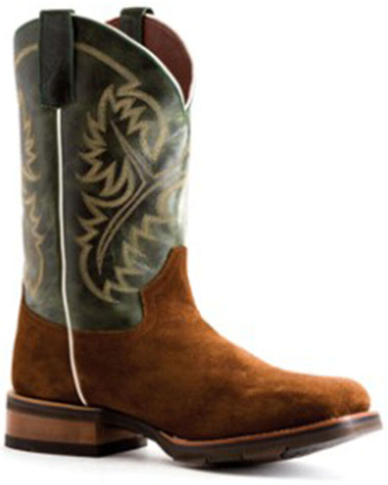 HorsePower Boys' Emerald Western Boots - Square Toe, Brown, hi-res