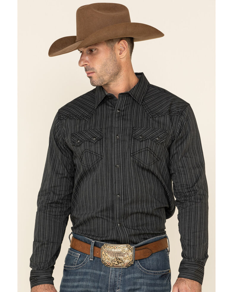 Cody James Men's Basin Striped Long Sleeve Western Shirt , Black, hi-res