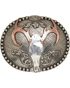 AndWest Congaree Vintage Deer Skull Belt Buckle, Silver, hi-res