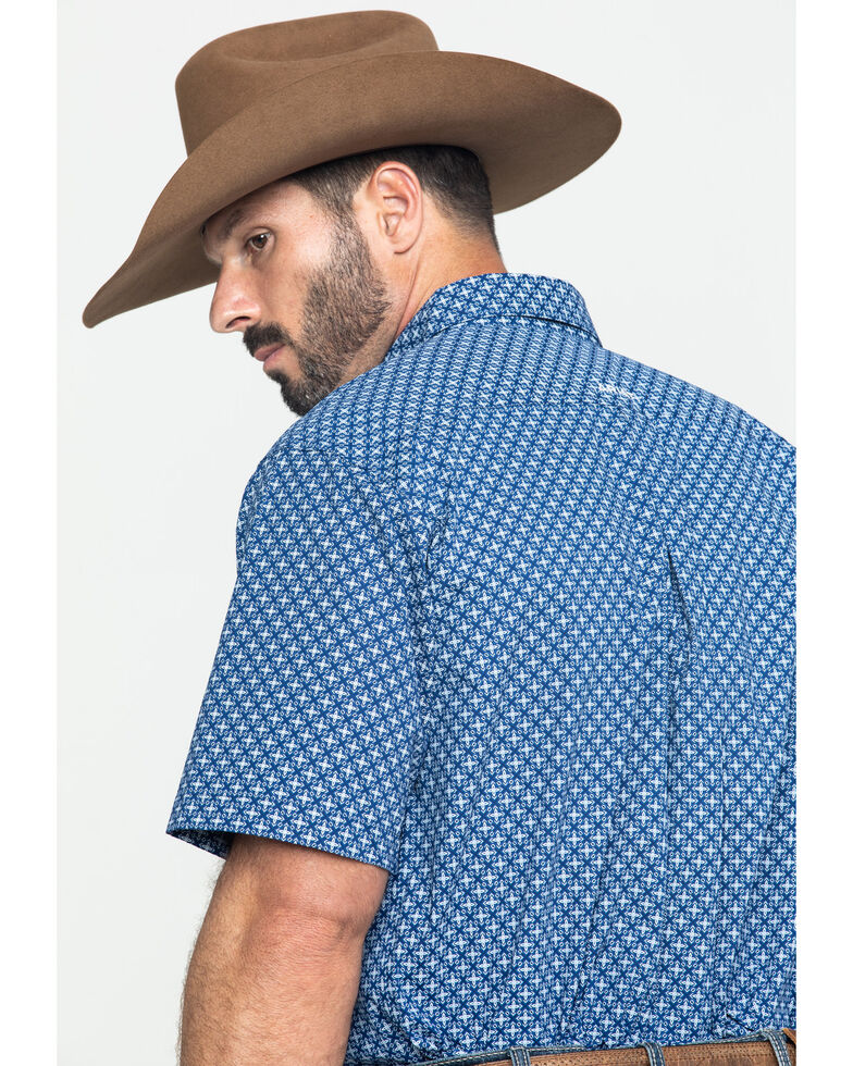 Ariat Men's Gladview Stretch Geo Print Short Sleeve Western Shirt , Blue, hi-res