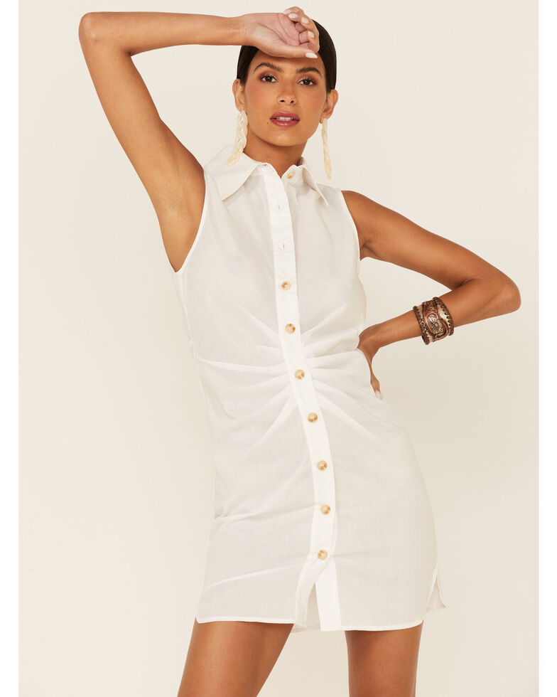 HYFVE Women's Button Down Dress , White, hi-res