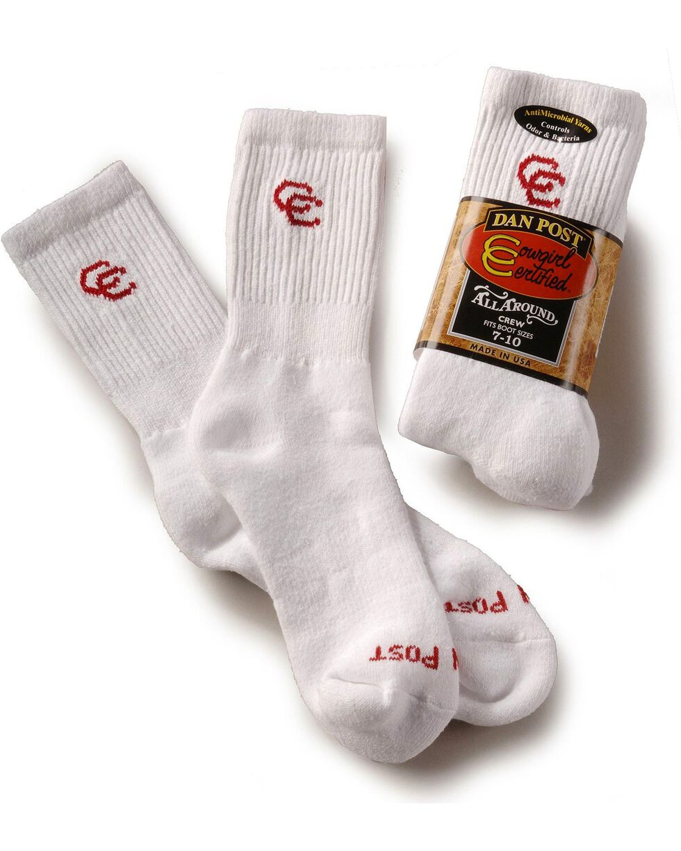 Dan Post Women's Cowboy Certified Crew Socks, White, hi-res