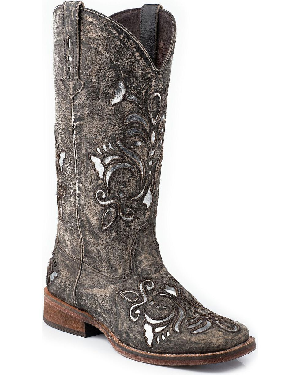 Roper Fancy Silver Inlay Cowgirl Boots - Square Toe, Brown, hi-res