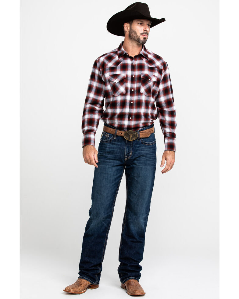 Ely Cattleman Men's Red Large Plaid Long Sleeve Western Flannel Shirt , Medium Red, hi-res
