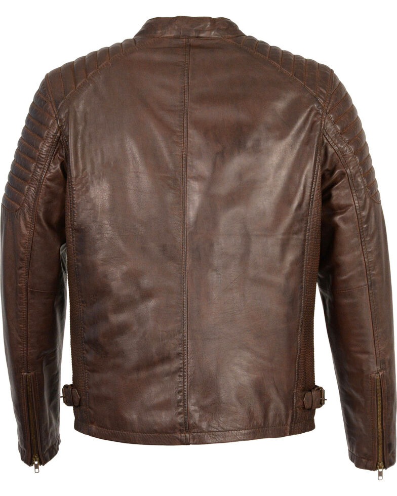 Milwaukee Leather Men's Quilted Shoulders Snap Collar Leather Jacket - 4X, Brown, hi-res