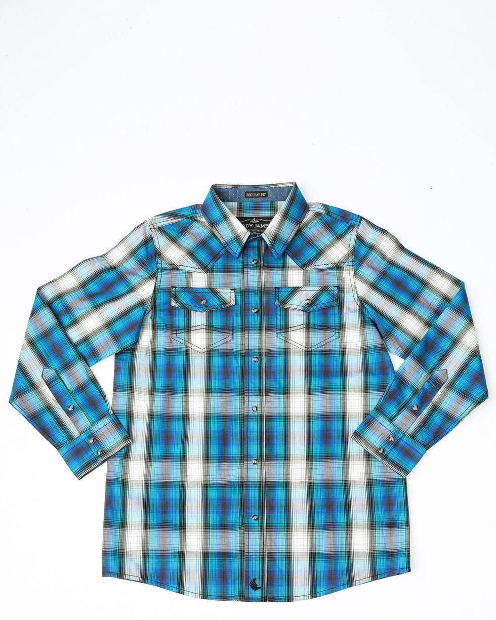 Cody James Boys' Emerald River Plaid Long Sleeve Western Shirt , Turquoise, hi-res