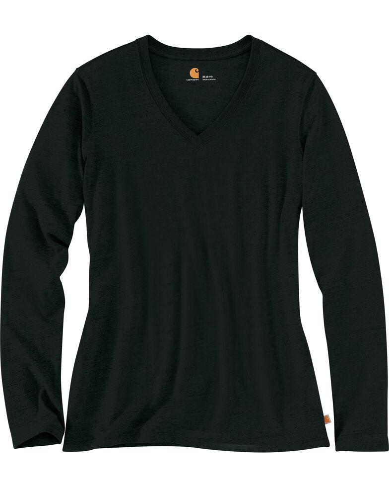 Carhartt Women's Black Lockhart Long Sleeve V-Neck Shirt , Black, hi-res