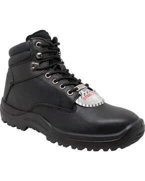 "Ad Tec Men's 6"" Black Tumbled Leather TPU Work Boots - Steel Toe, Black, hi-res"