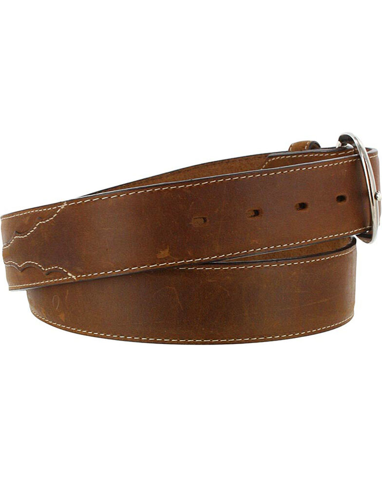 Justin Men's Brown Classic Western Leather Belt , Brown, hi-res