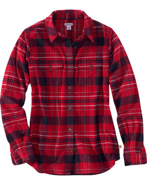 Carhartt Women's Purple Rugged Flex Hamilton Flannel Work Shirt , Dark Red, hi-res