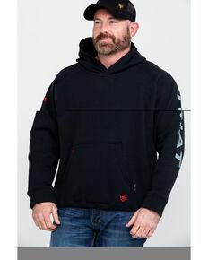 Ariat Men's Black FR Primo Fleece Logo Hooded Work Sweatshirt - Big , Black, hi-res