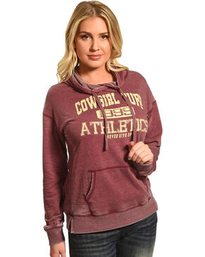 Cowgirl Tuff Women's Maroon Burnout Athletics Hoodie , Maroon, hi-res