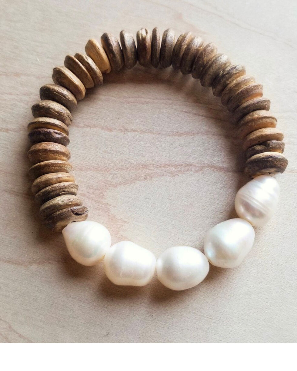 Jewelry Junkie Women's Freshwater Pearl & Wood Bracelet, Multi, hi-res