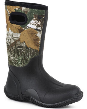Roper Youth Boys' Camo Barnyard Boots - Round Toe, Black, hi-res