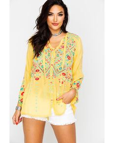 Johnny Was Women's Arges Blouse , Light Green, hi-res