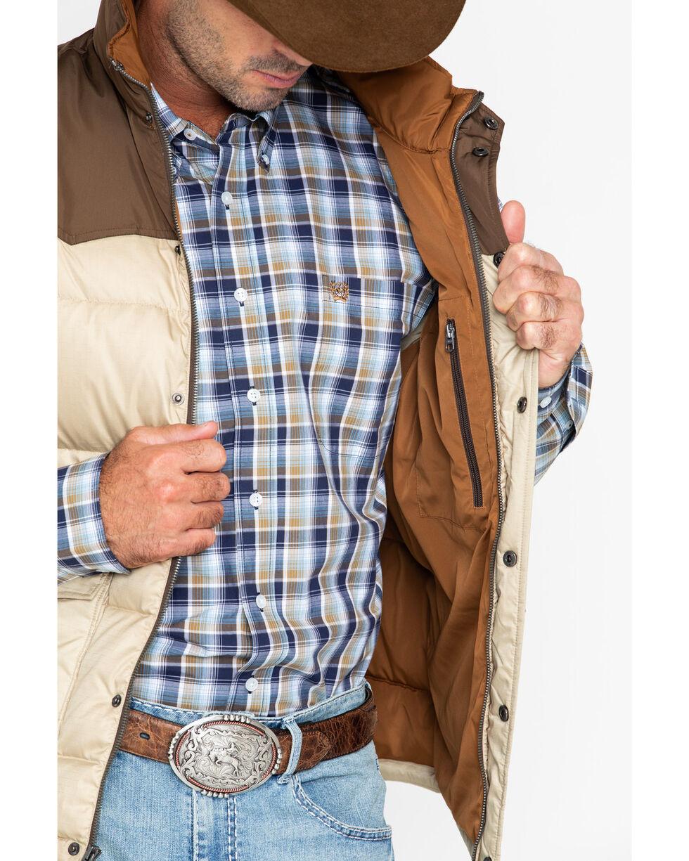 Cinch Men's Quilted Down Color Block Vest, Tan, hi-res