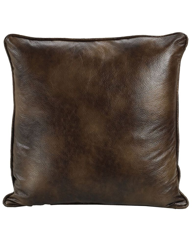 HiEnd Accents Dark Faux Leather Euro Sham, Brown, hi-res