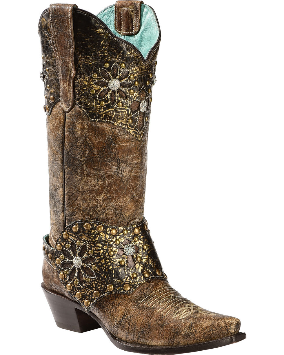 Corral Women's Collar and Harness Snip Toe Western Boots, Brown, hi-res