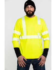 Ariat Men's FR Crew Hi-Vis Long Sleeve Work Shirt , Yellow, hi-res