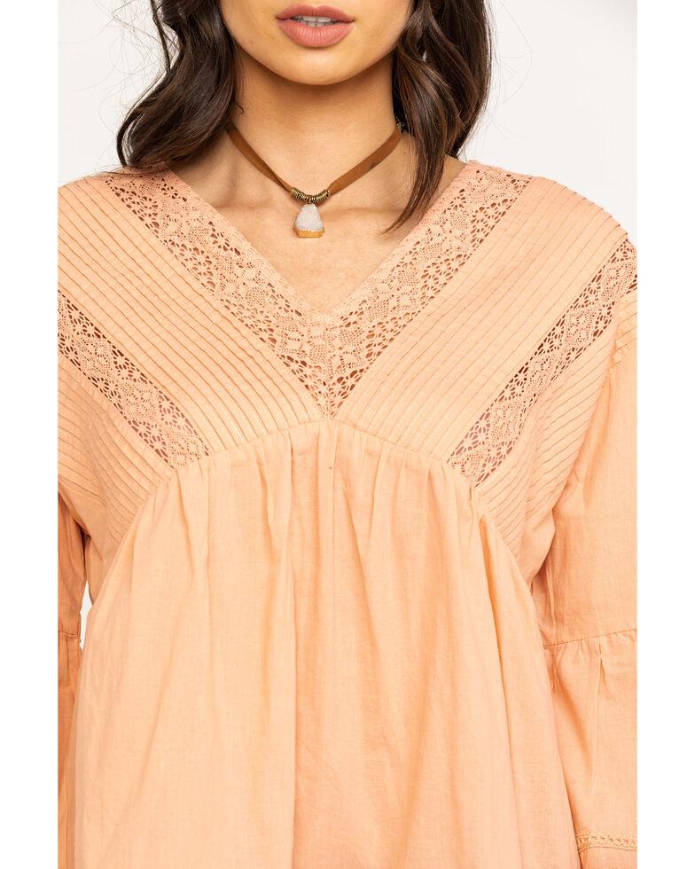Bodywave Women's Peach Lace Peasant Top , Peach, hi-res