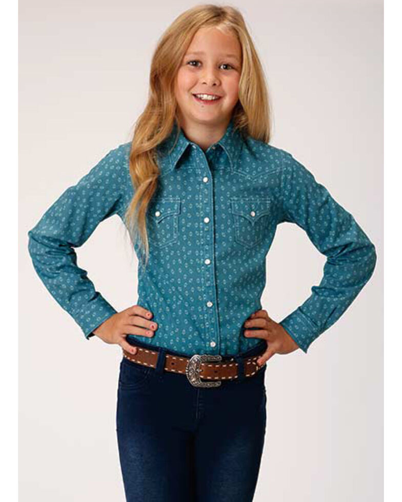 Karman Girls' Turquoise Geo Print Long Sleeve Western Shirt, Turquoise, hi-res