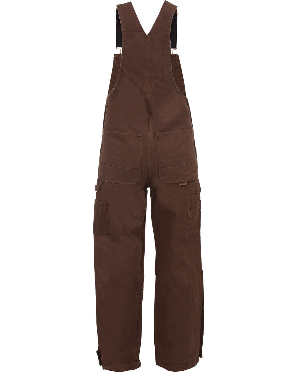 Berne Men's Unlined Washed Duck Bib Overalls - Tall, Bark, hi-res