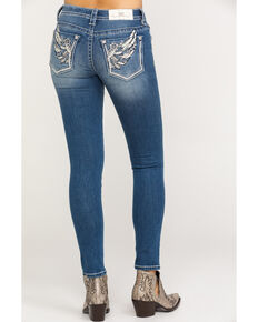 Miss Me Women's Medium Floral Wing Skinny Jeans, Blue, hi-res