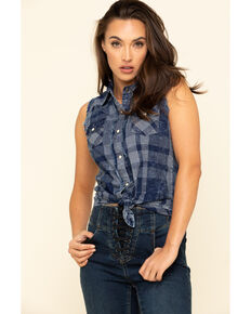 Rock & Roll Cowgirl Women's Denim Plaid Frayed Sleeveless Western Shirt , Blue, hi-res