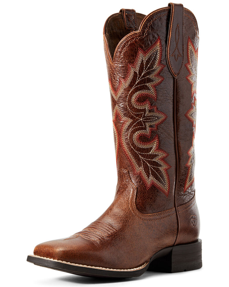 Ariat Women's Breakout Rustic Western Boots - Wide Square Toe, Brown, hi-res