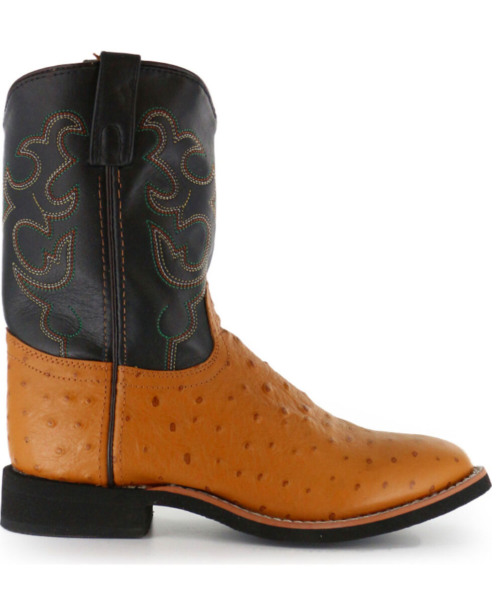 Cody James® Youth Ostrich Print Western Boots, Cognac, hi-res
