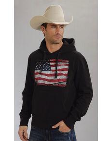 Roper Americana Collection American Flag Hooded Sweatshirt, Black, hi-res