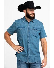 Levis Men's Nevin Stripped Short Sleeve Western Shirt , Navy, hi-res