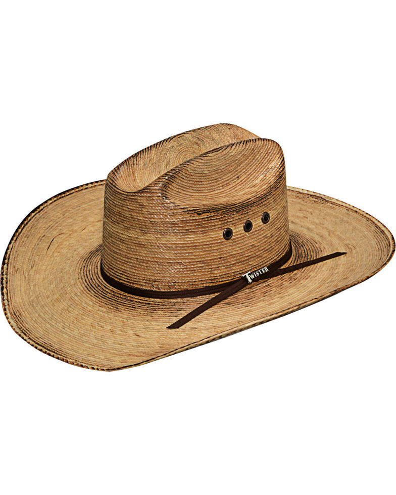 Twister Men's Dark Brown Flat Brim Fired Palm Hat , Dark Brown, hi-res