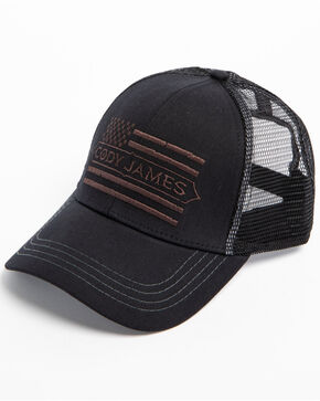 Cody James Men's American Flag Trucker Cap, Black, hi-res