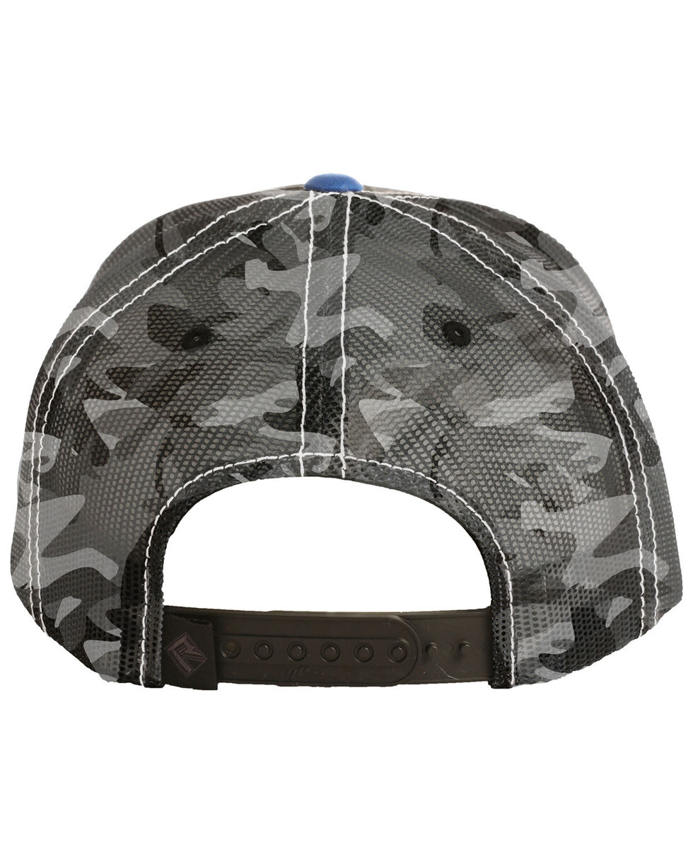 Rock & Roll Denim Men's Camo Trucker Cap, Black, hi-res