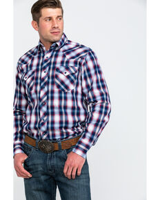 Roper Men's Blue Large Plaid Long Sleeve Western Shirt , Blue, hi-res