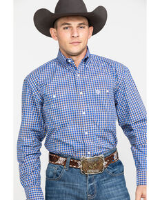 George Strait by Wrangler Men's Royal Poplin Plaid Long Sleeve Western Shirt , Royal Blue, hi-res