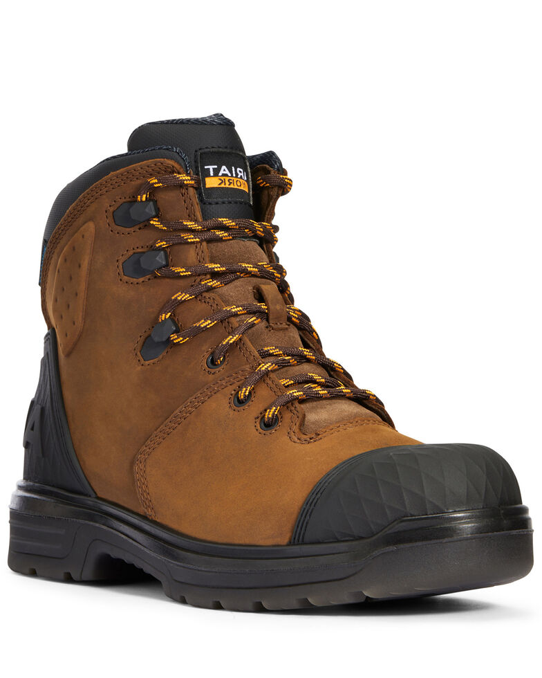 Ariat Men's Turbo Outlaw Work Boots - Soft Toe, Dark Brown, hi-res