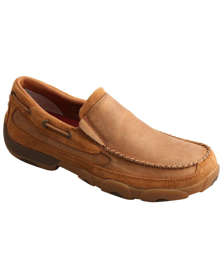 Twisted X Men's Driving Moccasin Shoes - Moc Toe, Tan, hi-res