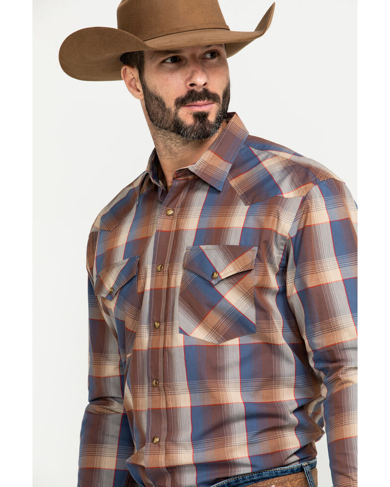 Pendleton Men's Navy Frontier Large Plaid Long Sleeve Western Shirt , Navy, hi-res