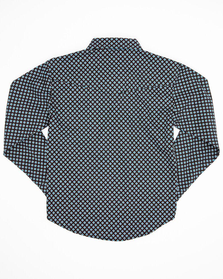 Roper Boys' Amarillo North Foulard Geo Print Long Sleeve Western Shirt , Black, hi-res
