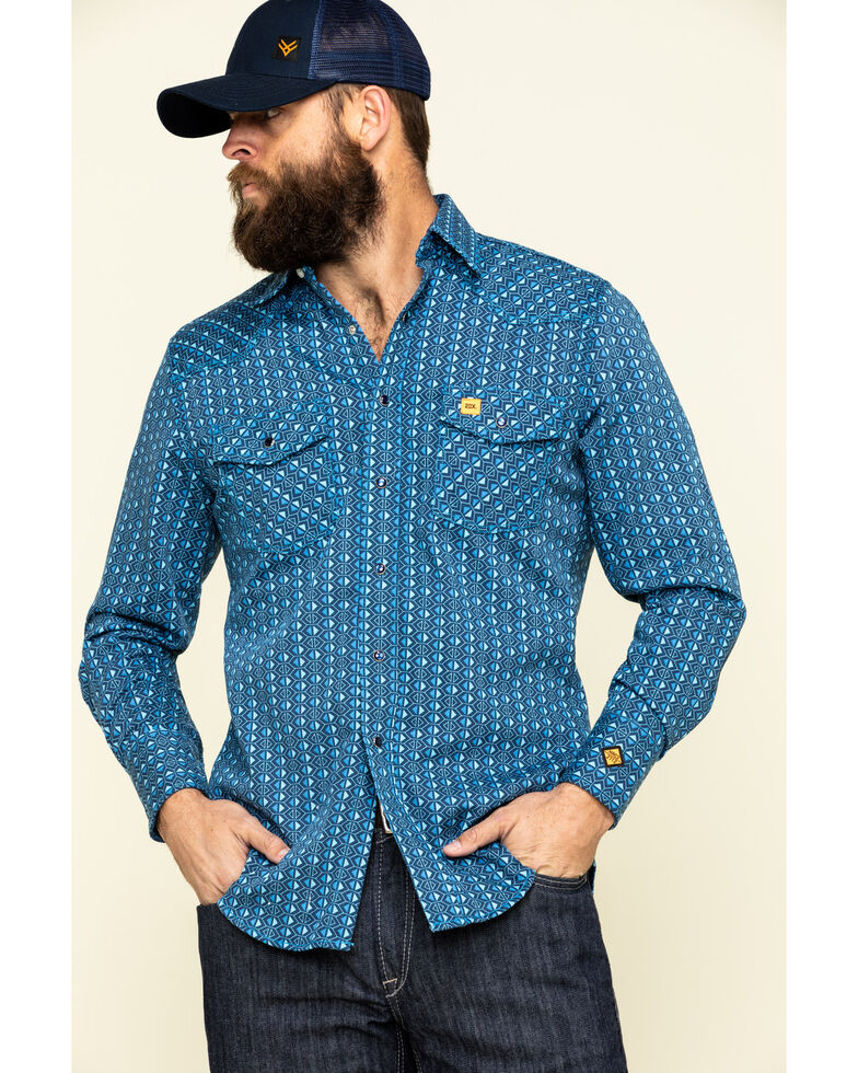 Wrangler 20X Men's FR Blue Geo Print Long Sleeve Work Shirt - Big , Blue, hi-res