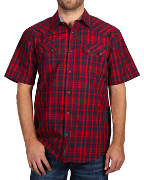 Moonshine Spirit® Men's Plaid Short Sleeve Shirt, Red, hi-res