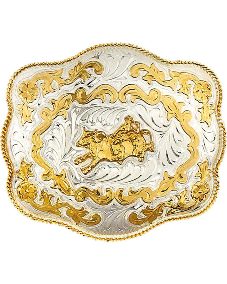 Western Express Men's Extra Large Bullrider Belt Buckle , Silver, hi-res