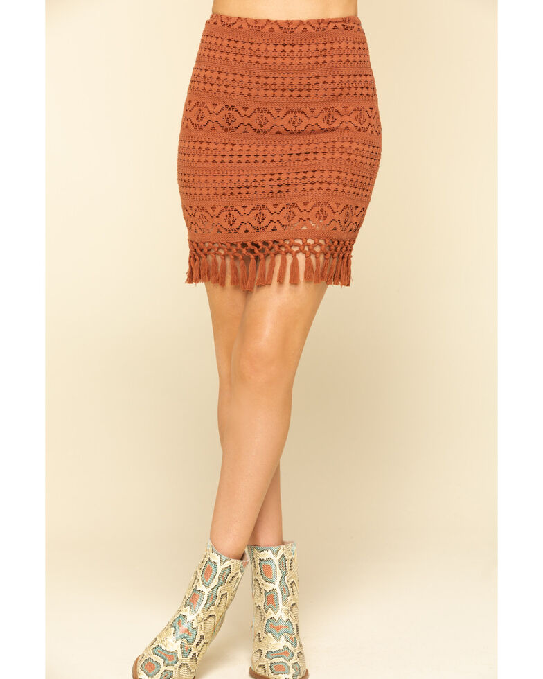 Shyanne Women's Brown Crochet Fringe Mini Skirt, Brown, hi-res