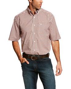 Ariat Men's Handerson Stretch Small Plaid Short Sleeve Western Shirt , Pink, hi-res