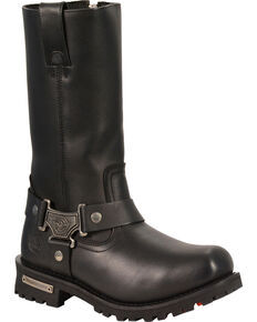 "Milwaukee Leather Men's 11"" Classic Harness Boots - Square Toe, Black, hi-res"